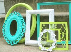 Blue Green and White Picture Frame Set
