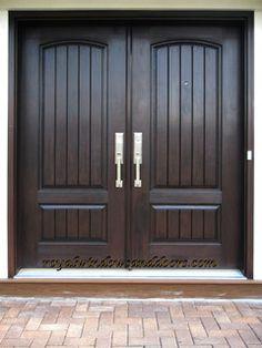 64 Super Ideas For Simple Double Door Design Wood Wooden Double Doors, Double Front Entry Doors, Wood Entry Doors, Entrance Doors, Solid Wood Front Doors, Porch Doors, Pine Doors, House Doors, Main Entrance Door Design