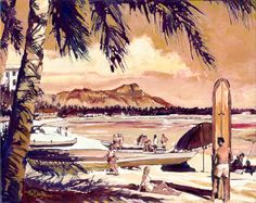 """Waikiki Beach"" was inspired by an old travel log brochure of Waikiki Beach from the 40's and 50's before all the high rise resorts were built. #SurfArt by Norm Daniels"