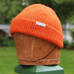 Orange wool beanie camping hat Canadian toque hipster by UpthePitt, $35.00