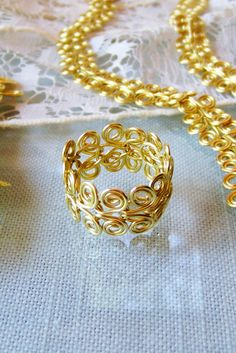 Ring Custom Size Golden Brass Egyptian Swirl Link by deleas, $45.00