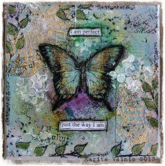 Mixed media butterfly by Karita Vainio