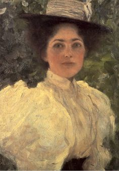 Klimt, Woman  in green 1896 - Gustav Klimt (July 14, 1862 – February 6, 1918) was an Austrian symbolist painter and one of the most prominent members of the Vienna Secession movement. Klimt is noted for his paintings, murals, sketches, and other art objects. Klimt's primary subject was the female body; his works are marked by a frank eroticism.