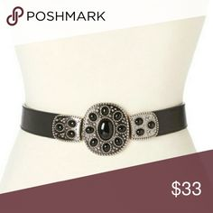 "Betsey Johnson Black Stone and Pewter Buckle Belt Stretchable styled belt with a pewter and onyx stone like buckle. S/M 27""  LENGTH. Betsey Johnson Accessories Belts"