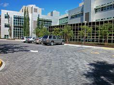 Permeable interlocking concrete pavement - office building.