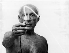 It would be very curious to record by means of photographs, not the stage of the picture, but its metamorphoses. photographs of Pablo Picasso by Gjon Mili, 1949