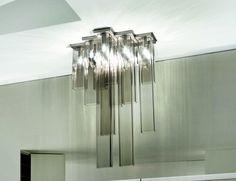 Nella Vetrina Vistosi Tubes PL 15 Ceiling Multi-Lights in Smoky White Glass