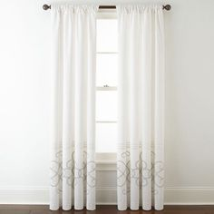 JCP HOME JCPenney HomeTM Patten Embroidery Lined Back-Tab Embroidered Window Panels