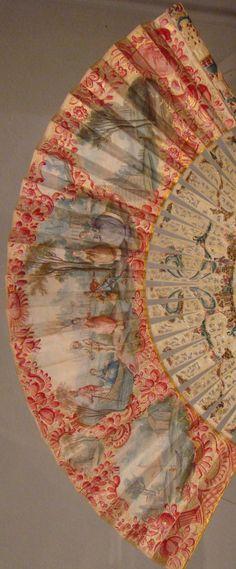 Ladies' Fan 18th century with genre scenes