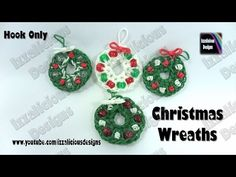 Rainbow Loom - Christmas/Xmas Wreath Charm - Loom-Less/Hook ONLY © Izzalicious Designs 2014 Rainbow Loom Tutorials, Rainbow Loom Patterns, Rainbow Loom Creations, Rainbow Loom Bands, Rainbow Loom Charms, Rainbow Loom Bracelets, Rainbow Loom Christmas, Rubber Band Charms, Rubber Bands