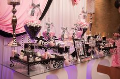 #Paris #theme #sweet16 #pink #black #decorations