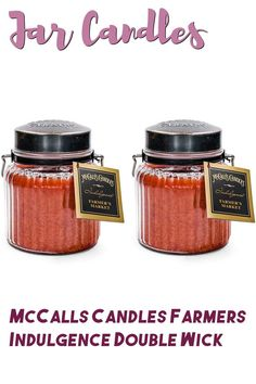 (This is an affiliate pin) McCalls Candles Farmers Market Indulgence 2-Pack   18 oz. Glass Jar Scented Candles   Spring Scents Double-Wick Candles for The Home   Gift Set Made in USA Glass Jars, Candle Jars, Home Candles, Farmers Market, Scented Candles, Home Gifts, Flask, Wicked, Usa