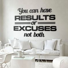 You can have results or excuses, not both! #pozytywna #energia #napis #na #ścianę #3D #dekoracja #decor #wall #modern #design #motywacja #motivation
