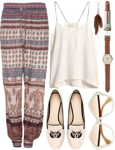 Pants: boho boho bohemian bohemian style loose ethnic shirt pattern patterns Hate the shoes