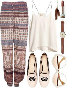 Pants: boho boho bohemian bohemian style loose shirt pattern patterns