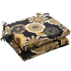 Pillow Perfect Squared / Yellow Floral Outdoor Seat Cushions