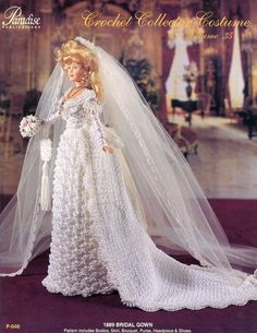 1889 Bridal Gown Paradise Volume vol 35 Barbie Doll Crochet PATTERN (NO DOLL) #ParadisePublications #DollOutfit