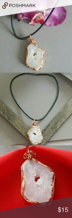 Chakra Alignment Pendant Cleanse, open, activate, and align Chakra with this natural quartz slab encased in grounding/healing uncoated pure copper.  Suspended on simple leather necklace. Jewelry Necklaces