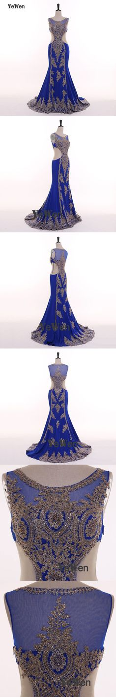 Luxury Royal Blue Gold Lace Beading Mermaid Evening Dress Long O Neck Sleeveless Elegant Formal Evening Gowns Robe De Soiree