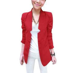 Allegra K Women Peaked Lapel Hook Eye Closure Long Sleeve Fall Blazer Coat Red XS Allegra K. $15.06