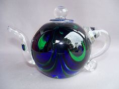 Hand Blown Art Glass Tea Pot  Paperweight by Route4glass on Etsy, $60.00