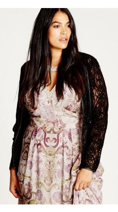 Plus Size Elegant Sheer Lace Jacket in black at City Chic | citychiconline.com
