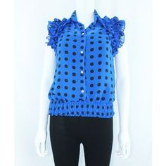 Blue Polka Dot Blouse With Ruffles http://www.trendzystreet.com/clothing/tops-blouses/blue-polkadots-top-tzs5869