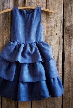 Beautiful Girls Handmade Linen Ruffle Dress   NaturalHomeTreasures on Etsy