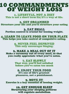 "10 Commandments of a Lifestyle! :-) I would add,""Drink LOTS of water."" It is crucial anytime but especially of you are trying to lose weight."