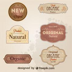 Etiquetas de estilo retro en tonos sepia