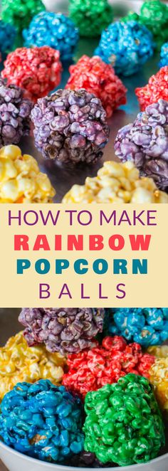 How to Make RAINBOW Popcorn Balls! This easy DIY recipe walks you through how to make these marshmallow popcorn balls that are colored using food dye and karo syrup! They're fun for Halloween, Christmas, Birthday Parties and more!