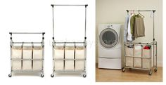 Rolling Laundry Sorter Hampers Hanging Bar 3 Bags Storage Clothes Organizer Bin #SevilleClassics