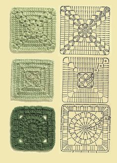 Transcendent Crochet a Solid Granny Square Ideas. Inconceivable Crochet a Solid Granny Square Ideas. Crochet Squares Afghan, Crochet Motifs, Granny Square Crochet Pattern, Crochet Blocks, Crochet Diagram, Crochet Chart, Crochet Blanket Patterns, Crochet Stitches, Knitting Patterns