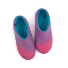 Women felted slippers by Wooppers woolen slippers AMIGOS pink lilac turquoise by Wooppers on Etsy