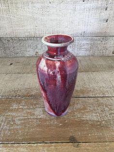 Vase Ceramic Vase Handmade Vase Mid Century Bud Vase Handmade Pottery Vase Unique Vase Small Vase Red Vase Purple Vase by TheDustyOldShack on Etsy