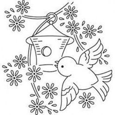 Paper Embroidery Patterns Vintage outline embroidery pattern of bluebird with birdhouse and flowers. Print on transfer paper and stitch. Paper Embroidery, Embroidery Transfers, Hand Embroidery Patterns, Vintage Embroidery, Embroidery Applique, Cross Stitch Embroidery, Machine Embroidery, Embroidery Designs, Embroidery Tattoo