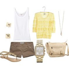 Yellow Sweater, Brown Shorts, and Hints of Gold