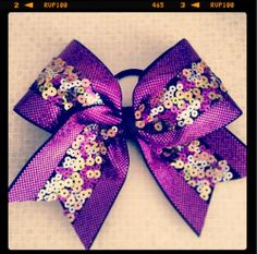 Purple sequins cheerleading bow, I'll use it for softball though ;)