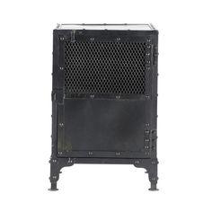 Mesita de noche industrial de metal negra 40cm de largo