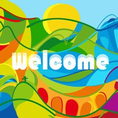 Welcome Abstract colorful summer banner. Brazil summer color. For kids sport Holiday, Children vacation, traveling, summer sport, games. Kids camp, Brazil carnival, Sport abstract vector Illustration.