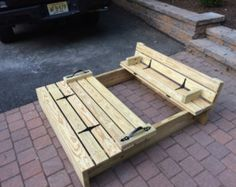 Sandbox with cover and seating by KensKlassicWoods on Etsy
