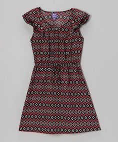 Take a look at this Black & Pink Geometric Angel-Sleeve Dress by BeBop on #zulily today!