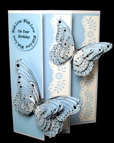 This is From my 3D Topper sheet designs - you can make 3 of these 3 LayeredButterflies from one sheet, This colour has been used a lot for New Baby Boy Cards,As Butterflies signify New Life. But can be great for Mothers day and lots of other cards and framed or box projects.