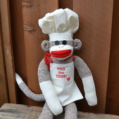 This dude is sure to cook his way into your heart! ~ His apron reads Kiss the Cook and is perfect for the chef in your life! ~ He is handmade using