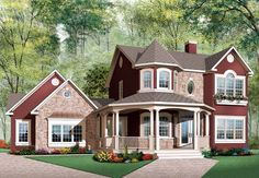 This design is awesome! Check out where the master bath sits! Country   European   Victorian   House Plan 65513