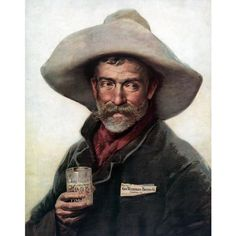 Tradecard for Wiedemann Beer with a cowboy holding a glass of Wiedemann Fine Beer, Date Unknown. - The George Wiedemenn Brewing Company operated out of Newport, Kentucky in the late and was at one time Kentucky's largest brewery.