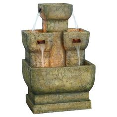 Alpine Corporation Two Tier Stone Fountain With LED Lights - Multi Color