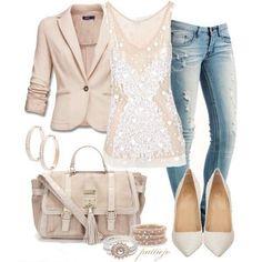 Cute style beige & jeans