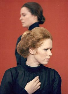 Ingrid Thulin and Liv Ullmann on the set of Ingmar Bergman's Cries and Whispers (1972)