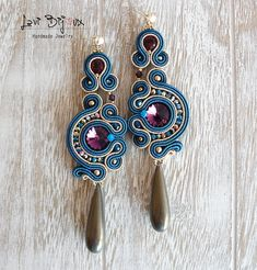 Soutache Earrings, Handmade Earrings, Hand Embroidered, Soutache Jewelry, Handmade from Italy, OOAK --------------------------------------- Earrings handmade by me with soutache embroidery technique. ITEM DETAILS: -Colors: blue, amethyst, gold -Materials: soutache string, beads,